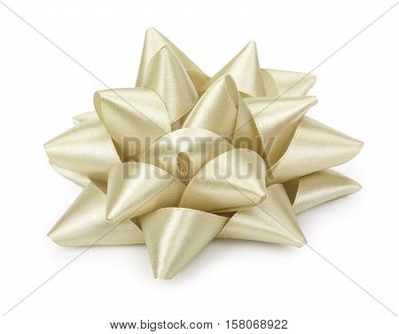 Light Beige Bow Isolated On The White Background, Gift Ribbon Bow Knot