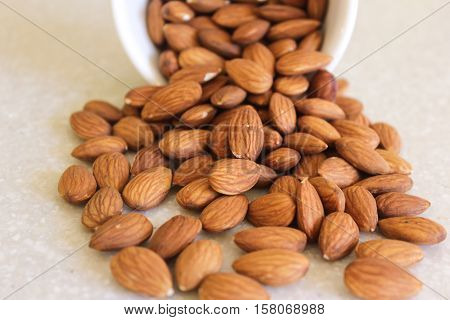 Almonds spilling out of a container on a kitchen countertop. Close-up image with focus on spilled almonds.