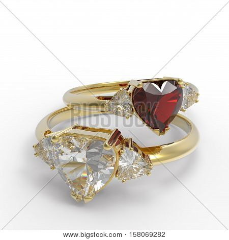 Wedding rings with diamond heart . 3d digitally rendered illustration