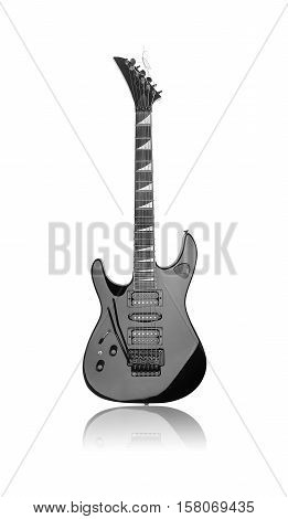 Black electric guitar isolated over white background.
