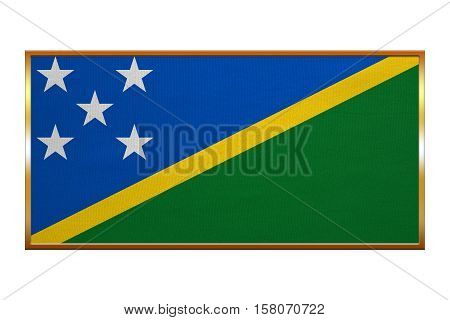 Solomon Island national official flag. Patriotic symbol banner element background. Correct colors. Flag of Solomon Islands golden frame fabric texture illustration. Accurate size colors