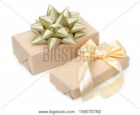 Pair Of Gift Boxes With Presents Wrapped In Kraft Paper And With Golden Light Beige Bow And Gold Bow