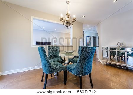 Modern dinning room with table and chairs