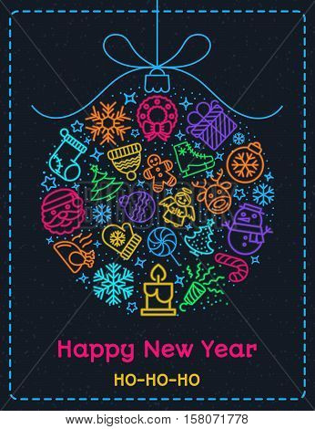 Christmas greeting card color style with christmas ball consisting of christmas line icons and wish Happy New Year ho-ho-ho on snow holiday background. Christmas decoration element. Stock vector