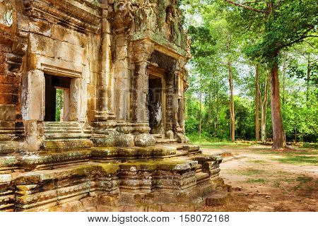 Doorway With Carving Of Thommanon Temple In Angkor, Cambodia