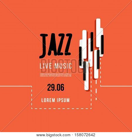 Jazz music festival, poster background template. Keyboard with music keys. Flyer Vector design.