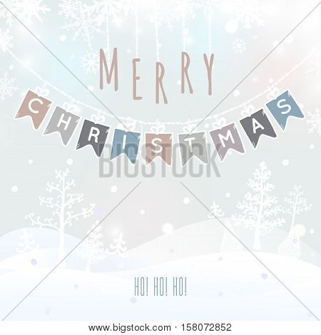 Merry Christmas Landscape, Christmas greeting card with winter background. Merry Christmas holidays wish design. Vector illustration.