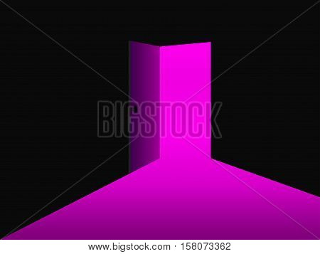 Light from the open door. Ultraviolet. Vector illustration.