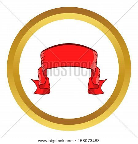 Red banner vector icon in golden circle, cartoon style isolated on white background