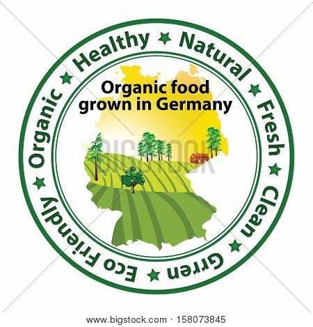 Organic food grown in Germany - stamp for print. Contains the map of the Germany with agricultural field on the background.
