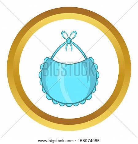 Baby bib vector icon in golden circle, cartoon style isolated on white background