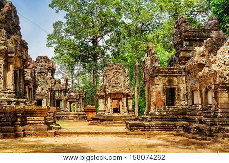 Ancient Buildings Of Thommanon Temple In Angkor, Cambodia
