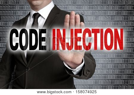 Code Injection With Matrix Is Shown By Businessman