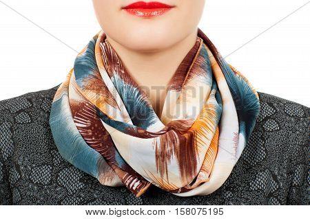 Silk Scarf. Beige Silk Scarf Around Her Neck Isolated On White Background.