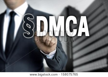 DMCA is shown by businessman background picture