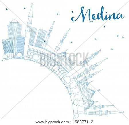 Outline Medina Skyline with Blue Buildings and Copy Space. Business Travel and Tourism Concept with Historic Architecture. Image for Presentation Banner Placard and Web Site.