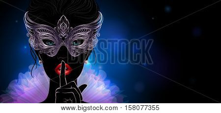 Vector Illustration. Silhouette of a mysterious lady in carnival mask she put a finger on lips in a hush gesture. Beautiful concept design for greeting card, party invitation, banner or flyer.