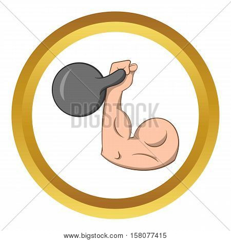 Brawny arm with dumbbell vector icon in golden circle, cartoon style isolated on white background
