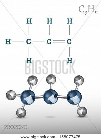 Propene molecule in 3D style. CH4 vector illustration isolated on a white background. Scientific, educational and popular-scientific concept.
