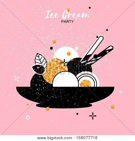 Sweet Ice Cream with different flavor. Gold Glitter Dessert party time. Six of tasty frozen dessert in a back bowl with wafer straw on pink background. Vector illustration.