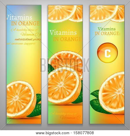 Orange health benefits banners with a fresh fruit and colourful pill on a colourful background. Beautiful vector illustration. Oranges are rich source of vitamin. Medical and pharmaceutical image.