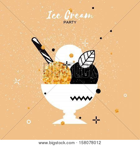 Sweet Ice Cream with different flavor. Gold Glitter Dessert party time. Trio of tasty frozen dessert in a white bowl with wafer straw. Vector illustration.