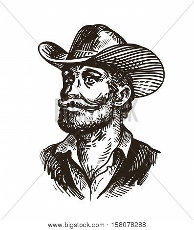 Cowboy, rancher or farmer. Hand-drawn sketch vector illustration