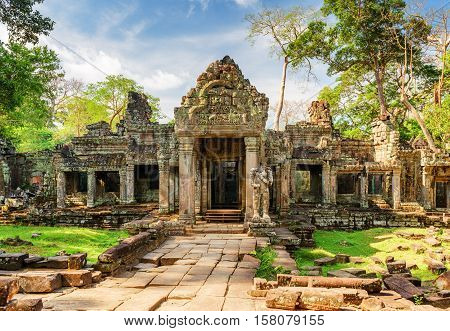 Entrance To Preah Khan Temple In Ancient Angkor, Cambodia