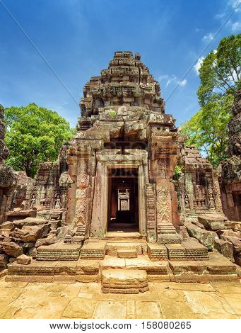 Doorway With Carving Of Ancient Ta Som Temple, Angkor, Cambodia