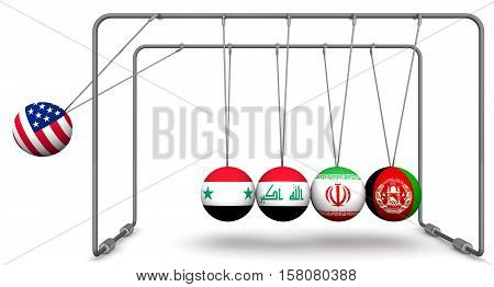 United States of America as a factor of the dynamics in geopolitics. The concept. Newton's Cradle with the image of the United States of America flag Syria Iran Iraq and Afghanistan. 3D Illustration. Isolated