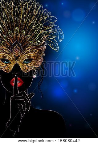 Vector Illustration. A mysterious lady in golden carnival mask with feathers put a finger on lips in a hush gesture. Beautiful concept design for greeting card, party invitation, banner or flyer.