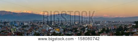 Panoramic view of Kathmandu city and the Himalayas from Patan, Nepal