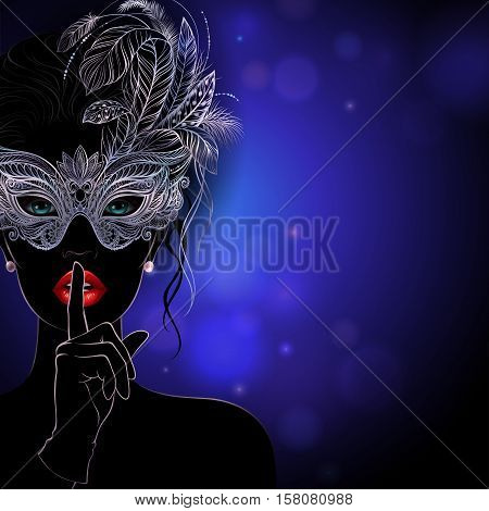 Vector Illustration. A mysterious lady in silver carnival mask with feathers put a finger on lips in a hush gesture. Beautiful concept design for greeting card, party invitation, banner or flyer.