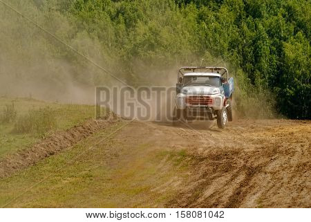 Tyumen, Russia - July 5, 2009: Championship of Russia on truck autocross in the Silkin Ravine. Truck racing