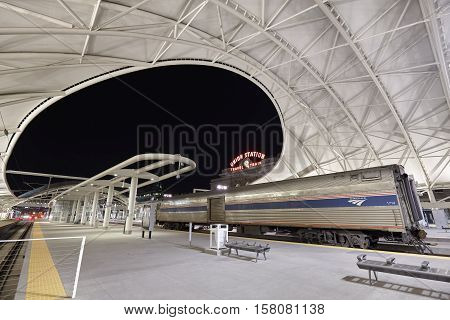 Denver, Usa -  November 3, 2016: Night Picture Of Renovated Denver Union Station, Main Railway Trans