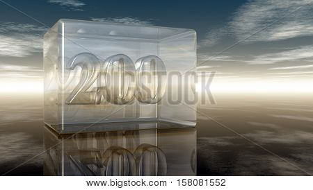 number two hundred in glass cube under cloudy sky - 3d rendering