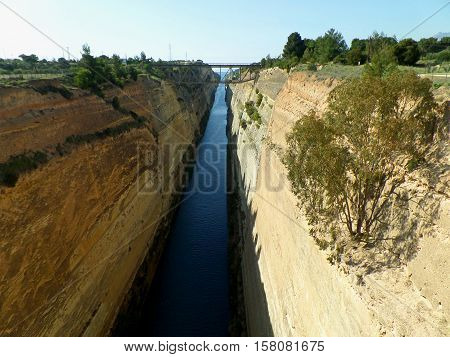Breathtaking view of Corinth Canal with the railroad bridge, Greece