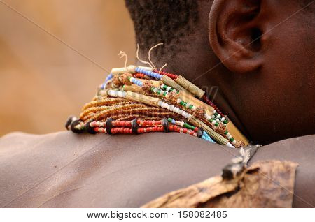 Hadza tribe is an ethnic group found in north of Tanzania near lake Eyasi - Some of the jewelry they wear handmade from the beads