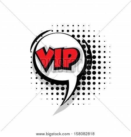 Lettering vip. Comic text sound effects pop art style vector. Sound bubble speech phrase comic text cartoon balloon expression sounds illustration. Comic text background template. Comics book balloon