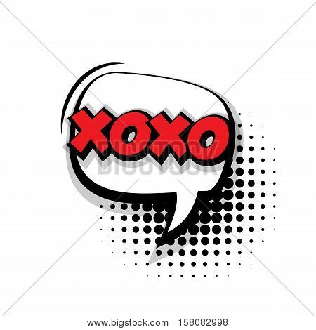 Lettering xoxo. Comic text sound effects pop art style vector. Sound bubble speech phrase comic text cartoon balloon expression sounds illustration. Comic text background template. Comics book balloon