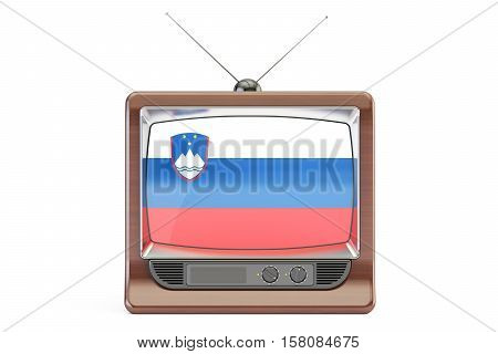 old tv with flag of Slovenia. Slovenian Television concept 3D rendering