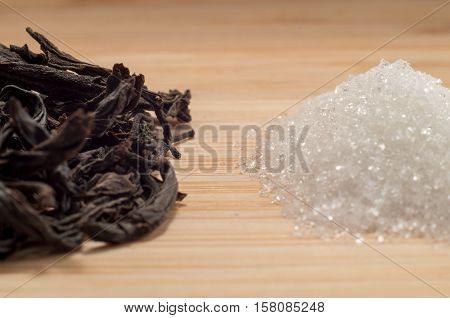 Selective Focus On The Macro View Of Dry Tea And Sugar