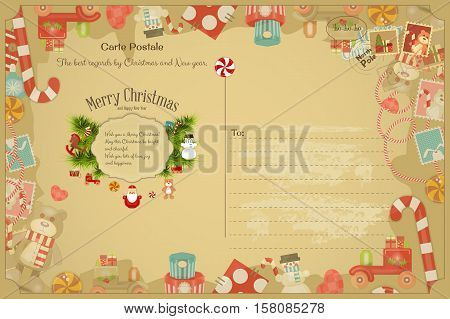 Xmas Postcard with Christmas and New Years Greeting. Backdrop of Card with Postage Stamps for Winter Holiday. Vintage Style. Vector Illustration.