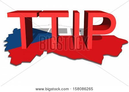 Ttip - Transatlantic Trade And Investment Partnership On Czech Republic Map Background