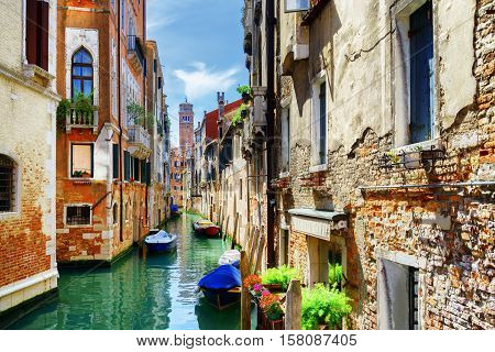 The Rio Di San Cassiano Canal And Medieval Houses, Venice, Italy