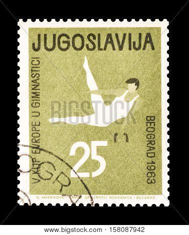 YUGOSLAVIA - CIRCA 1963 : Cancelled stamp printed by Yugoslavia, that shows Gymnastics.