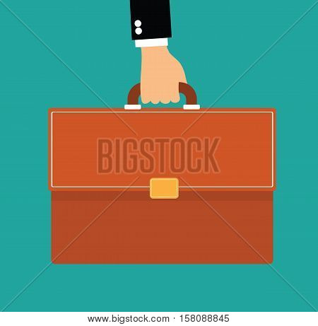 hand holding briefcase - business man with briefcase flat vector illustration stock