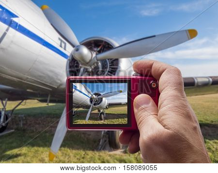 Old airplane engine in camera viewfinder display