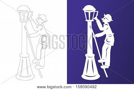 Winter paper cut. Lamplighter on the ladder. Wycinanka