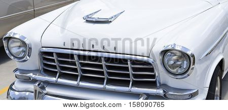 BRISBANE, AUSTRALIA - November 20, 2016: Detail of the 1958 Holden FC series an automobile produced by Holden in Australia